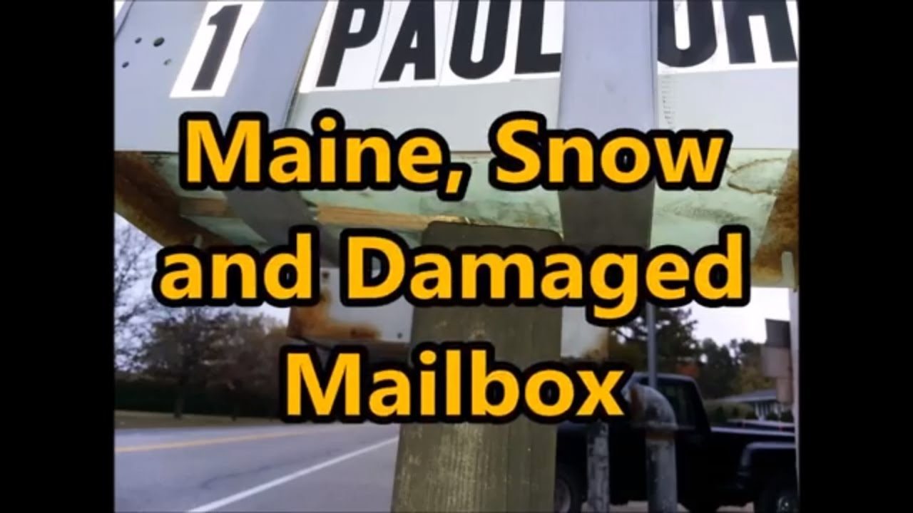 My temporary mailbox repair from snow plow damage, Maine winters!