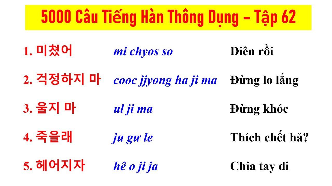 [Tập 62] - 5000 CÂU TIẾNG HÀN NGẮN THÔNG DỤNG | 실제로 자주 쓰는 한국어 문장들