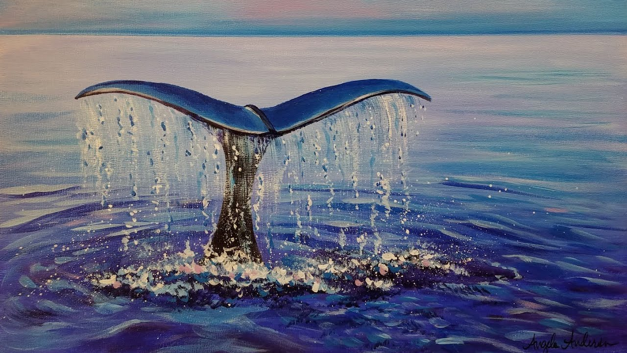 Easy Beginner Acrylic Painting Whale Tail Ocean Live Step By Step