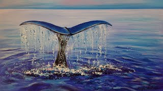 Easy Beginner Acrylic Painting Whale Tail Ocean LIVE Step by Step Tutorial