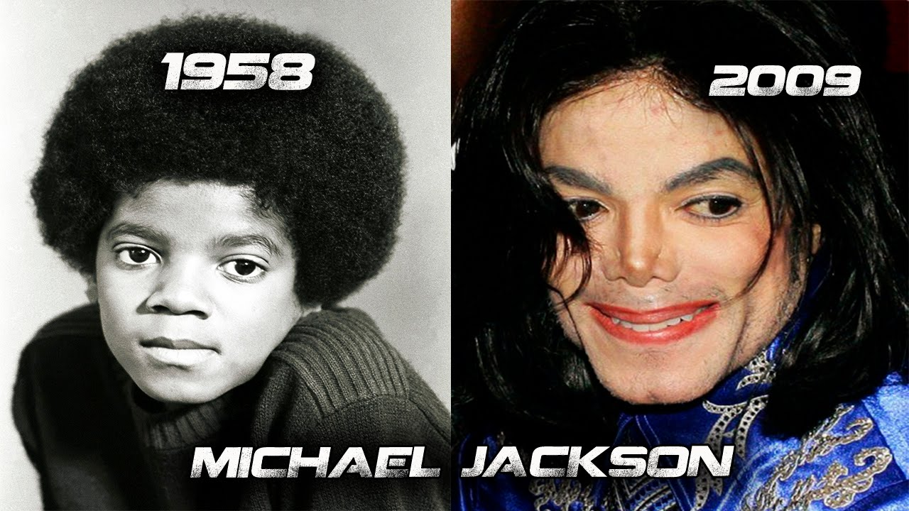 the evolution of michael jackson�s face 1958 from 2009