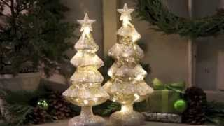 80238 Set of 2 Silver LED Light-Up Snow Covered Christmas Trees Thumbnail