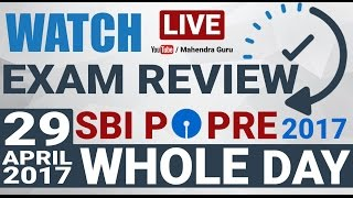 exam review sbi po pre 2017   whole day   all shift   29 04 2017   subscribe now
