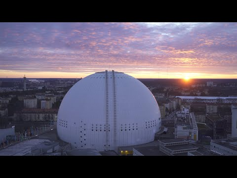 2571. Globen (Stockholm Globe Arena) Drone Stock Footage Video