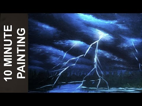Painting Storm Clouds and Lightning with Acrylics in 10 Minutes!