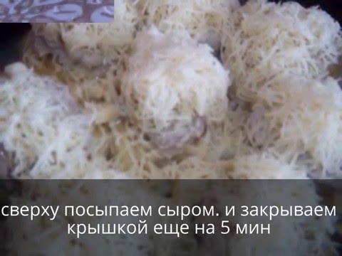 «Гнезда» из лапши с мясным фаршем