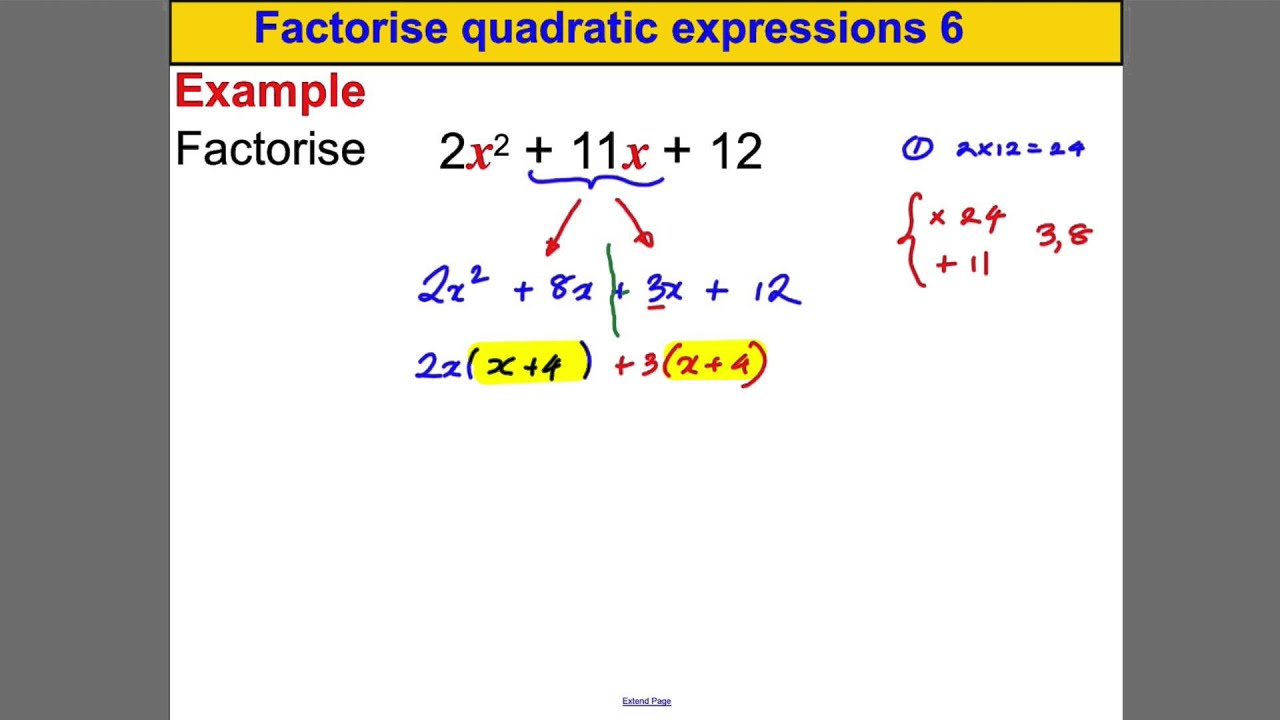Factorise Quadratic Expressions 6