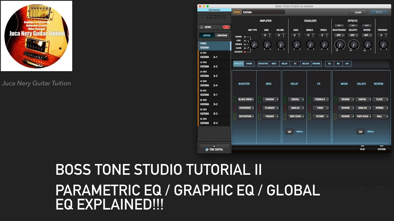 boss tone studio tutorial ii parametric eq graphic eq globaleq explained youtube. Black Bedroom Furniture Sets. Home Design Ideas