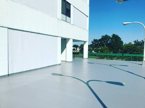 How to Make Waterproofing Traffic Coatings. Outdoor Installation of Sika Membrane on Parking Deck.