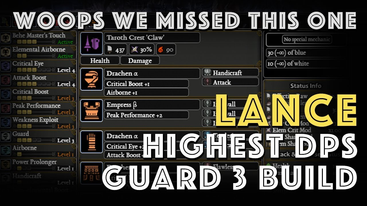 Woops we missed one! Highest DPS Guard 3 Lance Build! (MHW)