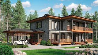 Проект дома в современном стиле. Дом с сауной, террасой и балконами. Ремстройсервис М-345