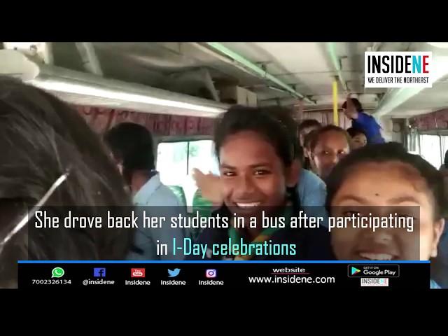 Guwahati School Asst. Teacher Drives students on a Bus on I-Day