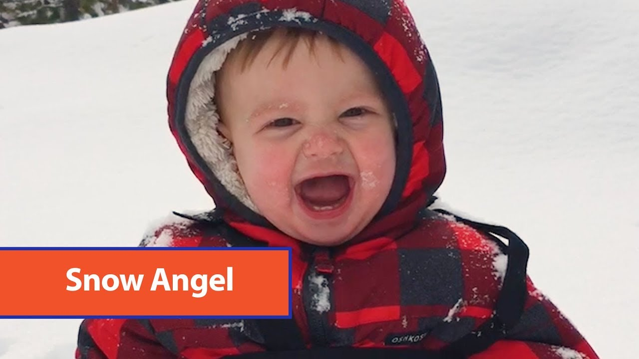 Baby Laughs After Getting Covered In Snow