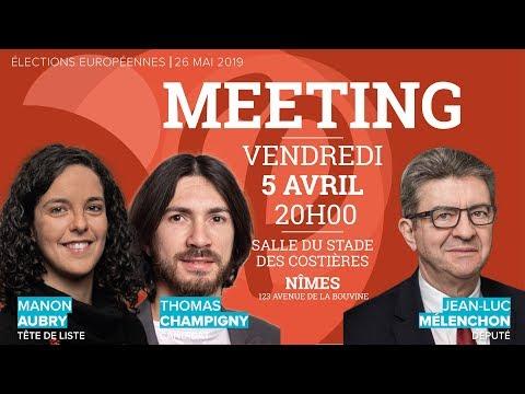 MEETING de JL. Mélenchon, M. Aubry et T. Champigny - #NimesFi