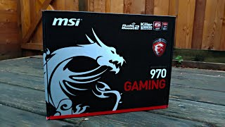 MSI 970 Gaming Motherboard Unboxing  (AMD FX 8350 CPU)