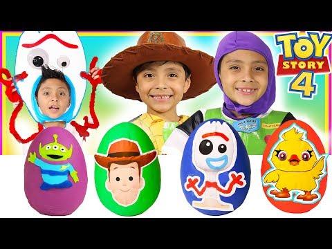 New Toy Story 4 Play-Doh Surprise Eggs Kids pretend play Disney Pixar Buzz Lightyear Woody Forky
