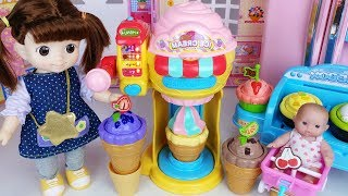 Baby Doll Ice Cream Shop and Play Doh Ice Cream cooking story music - ToyMong TV 토이몽