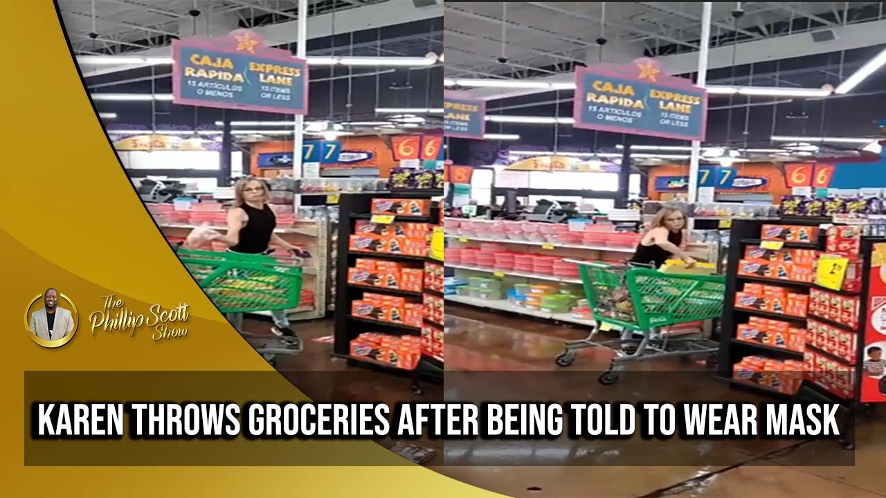Karen Throws Groceries Out Of Cart After Being Told To Wear A Mask