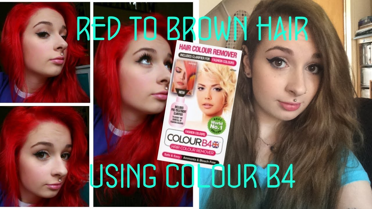 Red To Brown Hair Using Colour B4 Youtube
