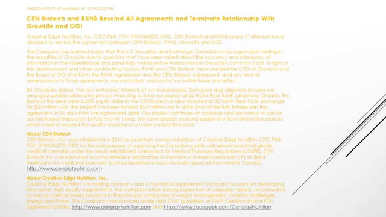 cen biotech and rxnb rescind all agreements and terminate cen biotech and rxnb rescind all agreements and terminate relationship