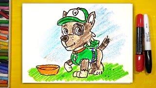 Как нарисовать Рокки из мультика Щенячий Патруль / РыбаКит рисунки для детей