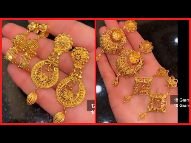 Party Wear 22k Gold Long Earrings Saudi Gold Dangling Earrings