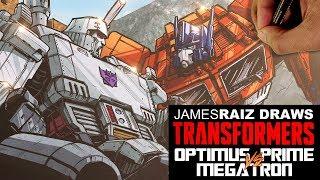 DRAWING TRANSFORMERS OPTIMUS PRIME vs MEGATRON!