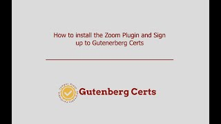 GC Install Zoom Plugin and Sign Up