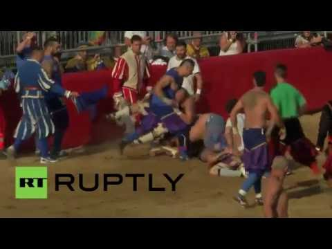 Italy: Headbutting allowed! Modern-day gladiators do battle in Calcio Storico match
