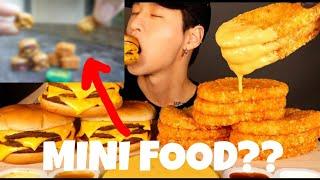 I made miniature version of Zach Choi ASMR&#39S mukbang *triple cheeseburger and cheesy hashbrown*