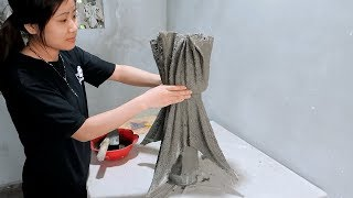 Amazing Ideas With Cement - Ideas Make Unique Flower Pot From Wife's Scarf