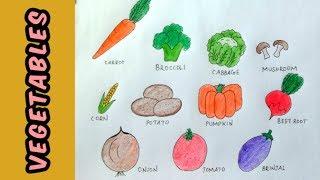 vegetables names draw easy step