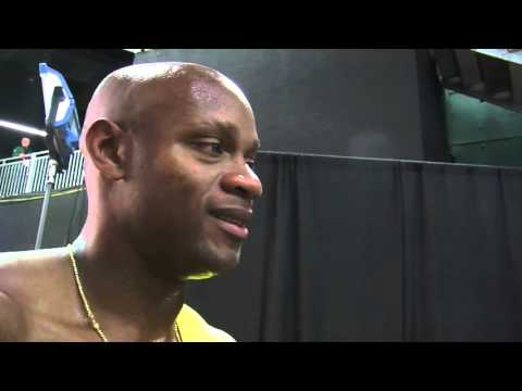 Jamaica's Asafa Powell's races to a near-world record in 60 meters at IAAF championships