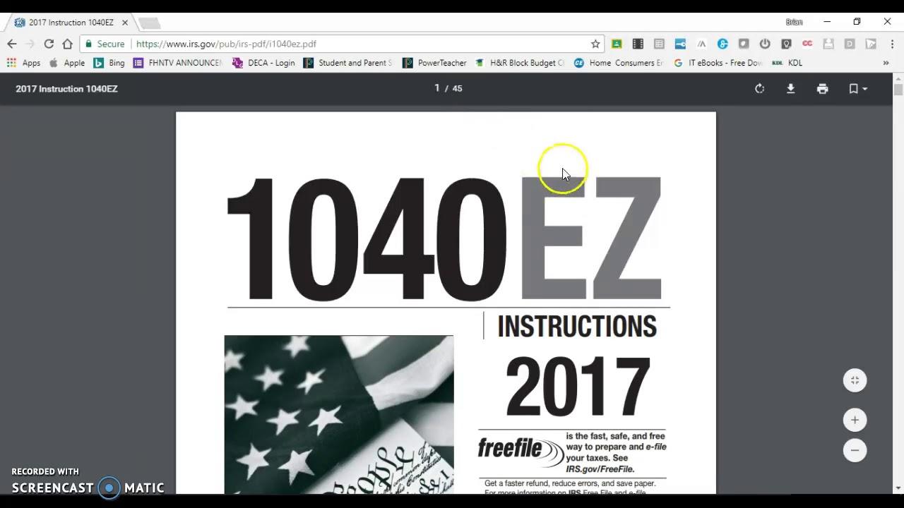1040ez Part 2 Tax Refund Youtube