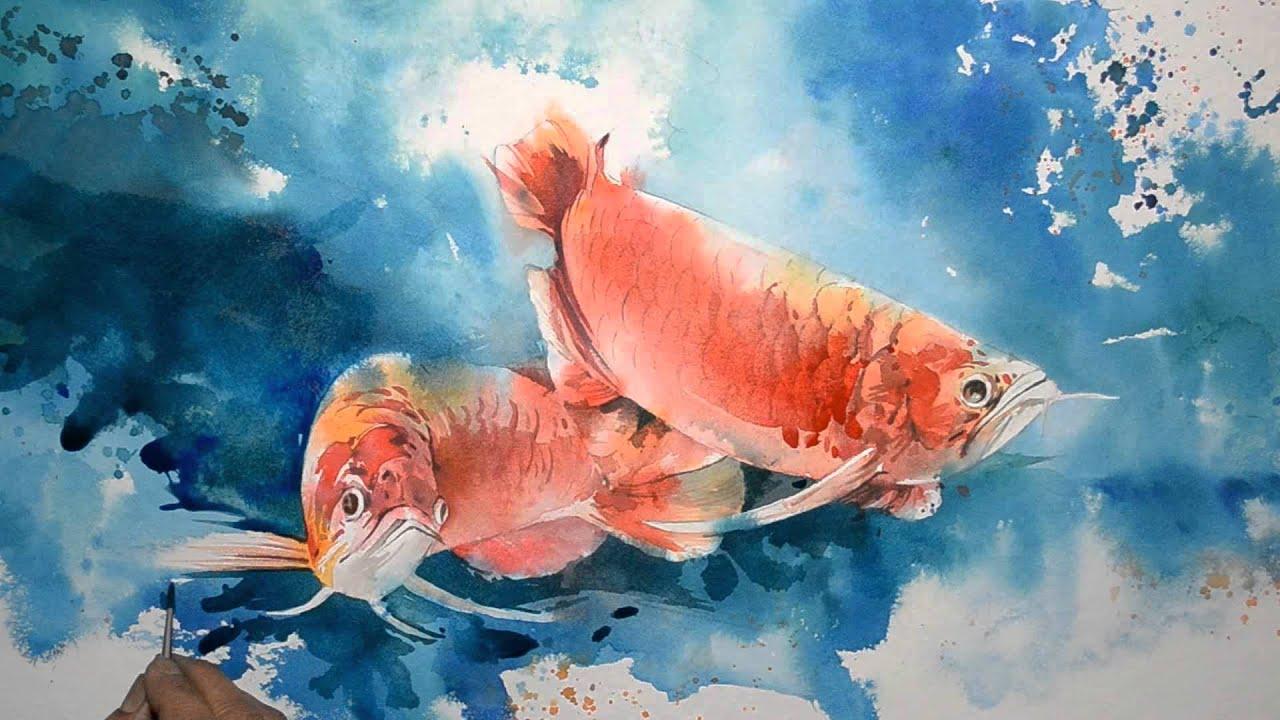 Speed painting arowana fish youtube for Watercolor fish painting