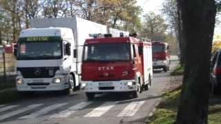 Straż pożarna alarmowo do pożaru zbiornika z benzyną na terenie LOTOS Terminale