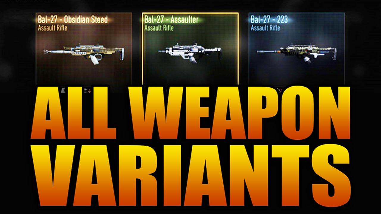 All Weapon Variants In Call Of Duty Advanced Warfare Cod Supply Drop Guns List Youtube