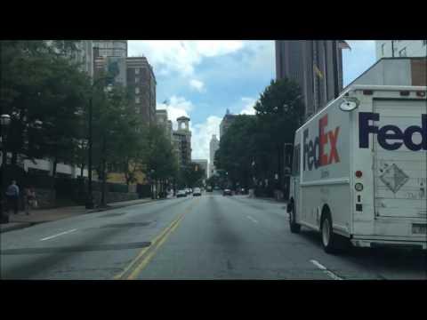 Driving Downtown Atlanta Georgia USA