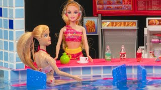 Miniature swimming pool DIY ~ Water fun   Barbie Elsa and Anna dolls   pool party!