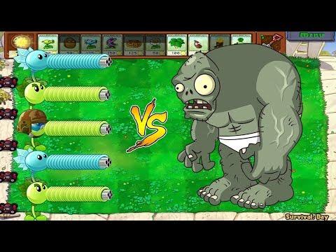 Plants vs Zombies - Gatling Pea vs Snow Pea vs Fire Repeater vs Gargantuar
