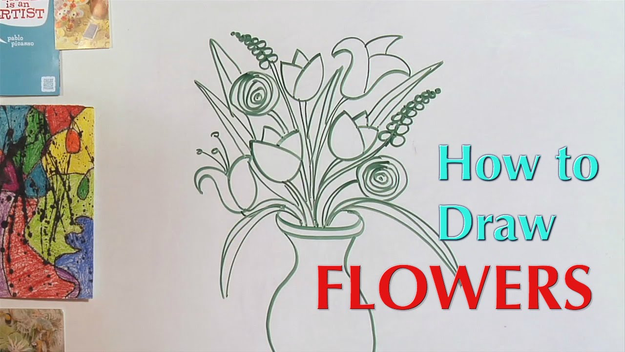 How To Draw Flowers Great Artist Mom Youtube