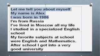 Топик My Biography Моя биография. Рассказ о себе топик устная тема урок разговорного английского