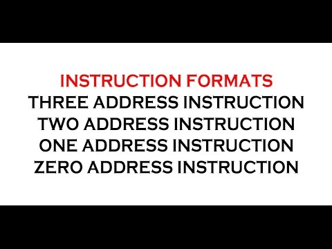 INSTRUCTION FORMATS IN COMPUTER ARCHITECTURE