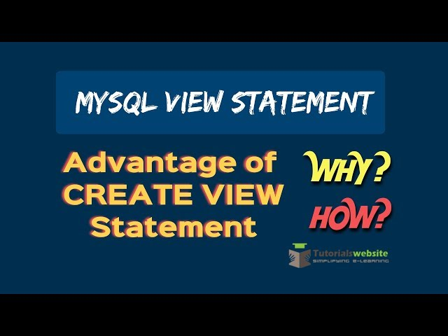 Mysqli CREATE VIEW Statement | Advantage of CREATE VIEW statement