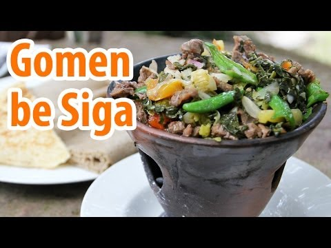 Gomen be siga - Sizzling Ethiopian beef and collard greens