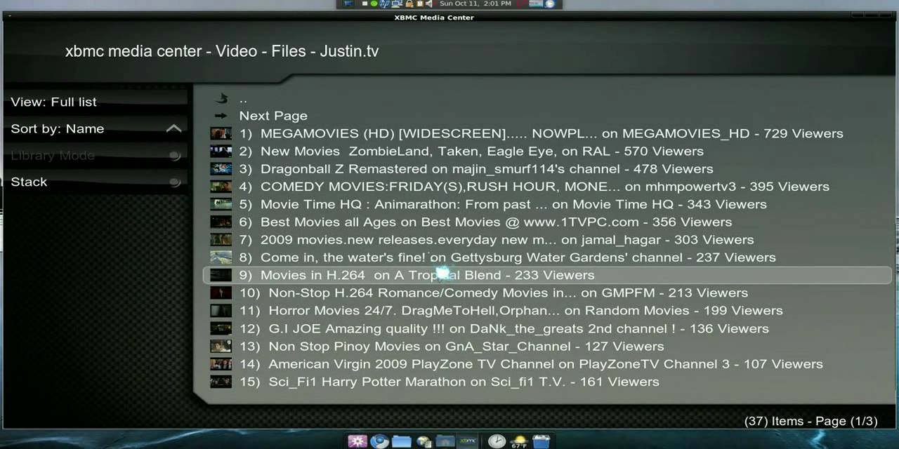 Internet TV Plugins - XBMC - Linux Mint 7