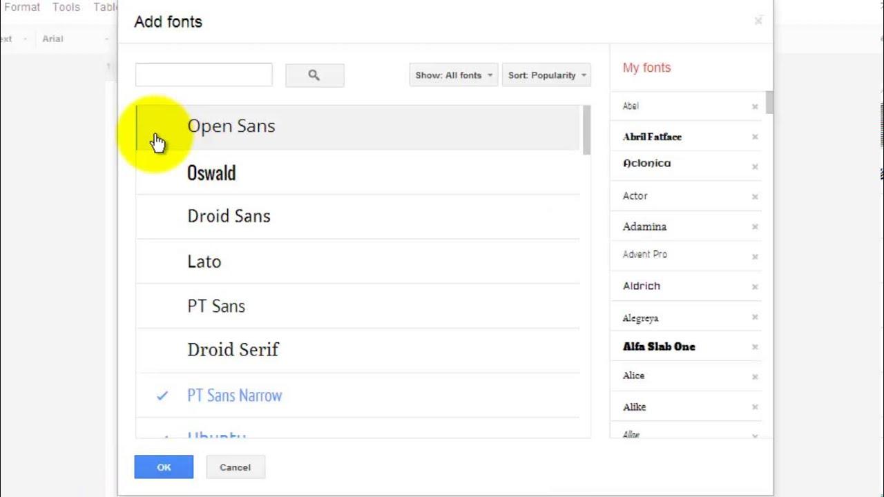 Add Fonts to Google Docs