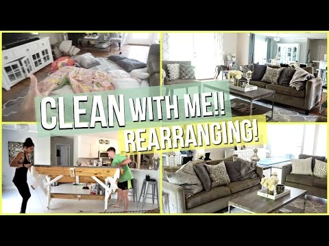 CLEAN WITH ME REARRANGING  Living Room & Kitchen