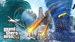 MEGA TSUNAMI TORNADO & METEORS DESTROY LOS SANTOS - END OF THE WORLD GTA 5 APOCALYPSE MOD