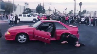 Kid Falls Out of Car while doing donuts | CRENSHAW TAKEOVER